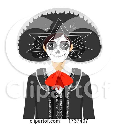 Teen Boy Sugar Skull Costume Illustration by BNP Design Studio