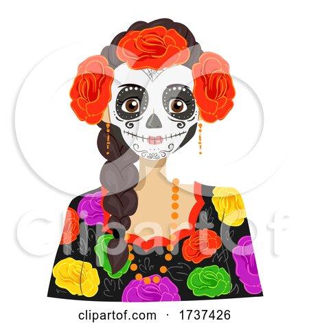 Teen Girl Sugar Skull Costume Illustration by BNP Design Studio