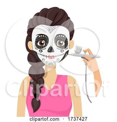Teen Sugar Skull Makeup Air Brush Illustration by BNP Design Studio