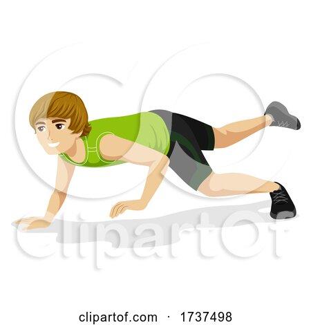 Teen Boy Animal Exercise Chameleon Illustration by BNP Design Studio
