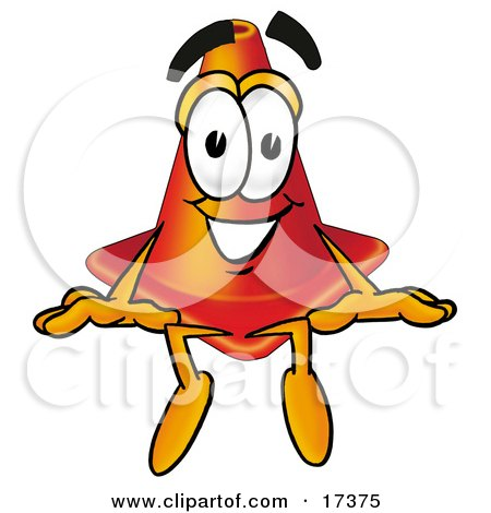Clipart Picture of a Traffic Cone Mascot Cartoon Character Sitting by Toons4Biz