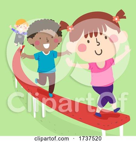 Kids Balancing Beam Illustration by BNP Design Studio
