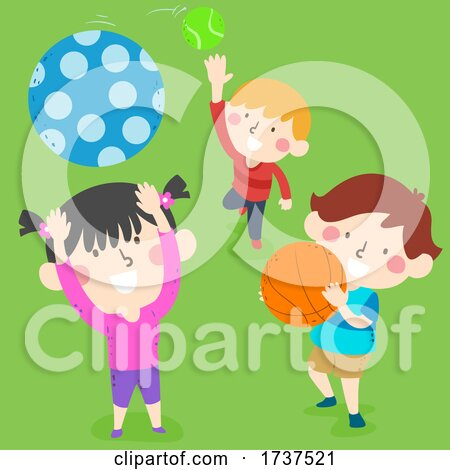 Kids Catching Balls Illustration by BNP Design Studio