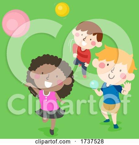 Kids Throwing Balls Outdoors Illustration by BNP Design Studio
