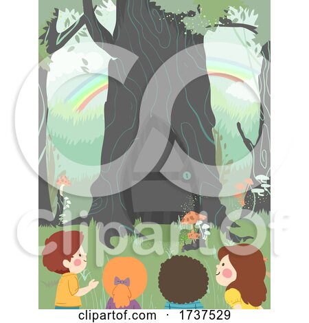 Kids Curious Tree Door Woodland Illustration by BNP Design Studio