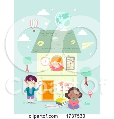 Kids Geography Elements House Illustration by BNP Design Studio