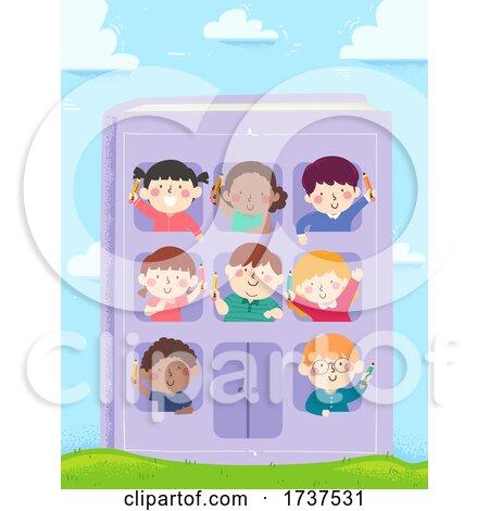 Kids Hold Pencils Book Building Illustration by BNP Design Studio