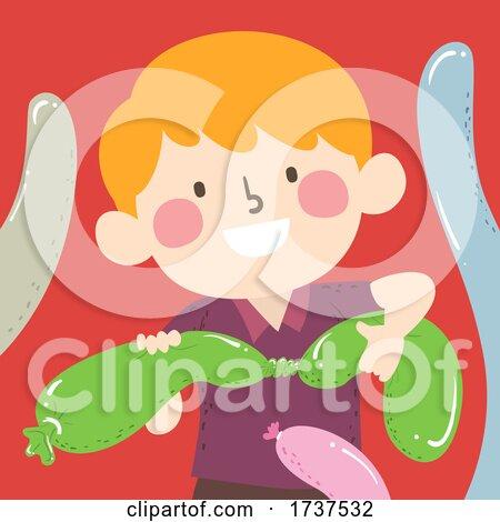 Kid Boy Twisting Balloons Illustration by BNP Design Studio