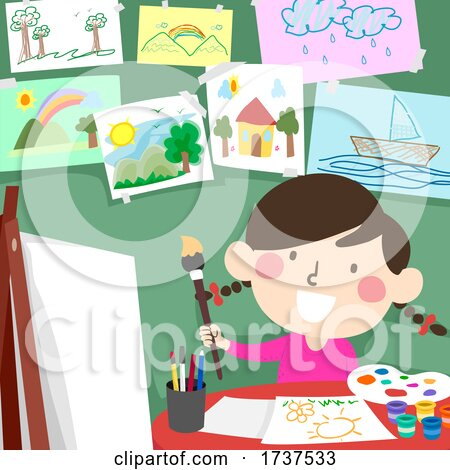 Kid Girl Paint Drawing Room Illustration by BNP Design Studio