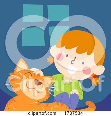 Kid Girl Petting Tabby Cat Pet Illustration by BNP Design Studio