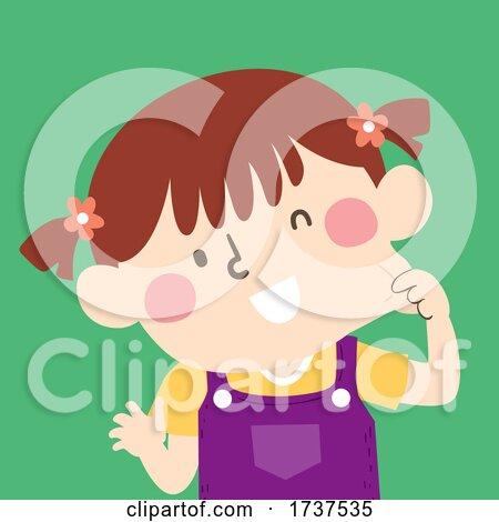 Kid Girl Pinching Cheek Illustration by BNP Design Studio