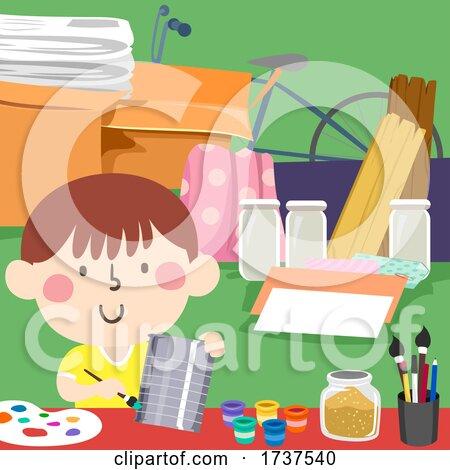 Kid Art Scrap Materials Upcycle Illustration by BNP Design Studio