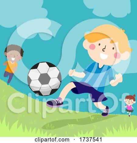 Kids Kicking Ball Outdoors Illustration by BNP Design Studio