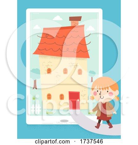 Kid Girl Walk Home Tablet App Illustration by BNP Design Studio