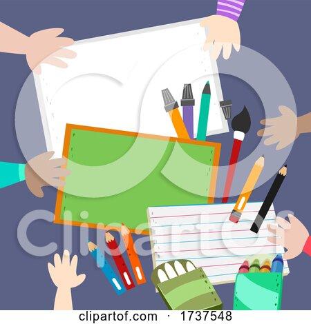 Kids Hand Drawing Different Media Illustration by BNP Design Studio
