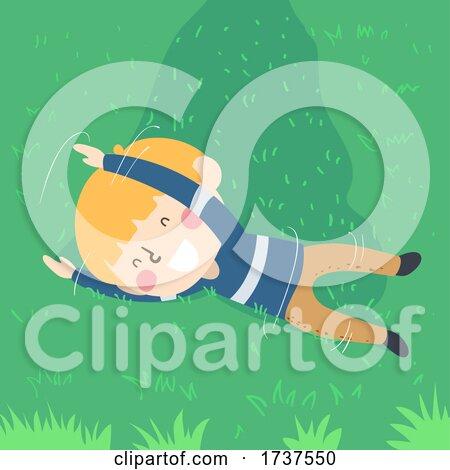 Kid Boy Rolling Grass Illustration by BNP Design Studio