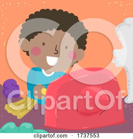 Kid Boy Poking Clay Sensory Illustration by BNP Design Studio