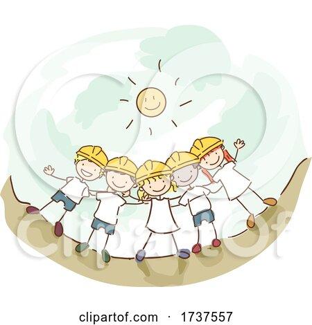 Stickman Kids All Together Hard Hat Illustration by BNP Design Studio