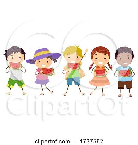 Stickman Kids Eating Watermelon Day Illustration by BNP Design Studio