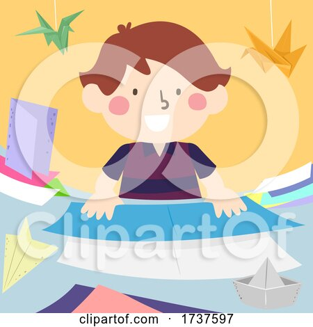 Kid Boy Folding Papers Origami Illustration by BNP Design Studio