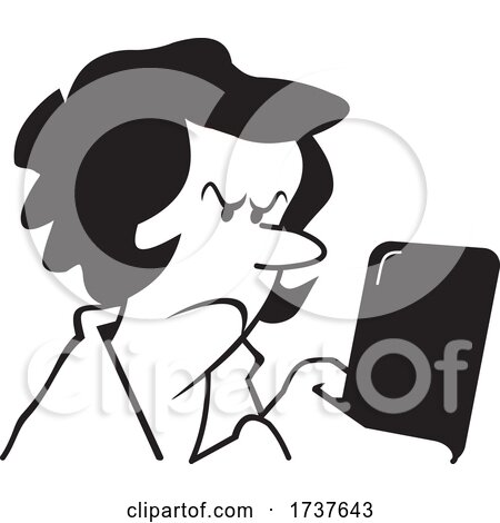 Woman Reading or Sending an Angry Text Message by Johnny Sajem