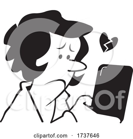 Woman Reading or Sending a Sad Text Message by Johnny Sajem