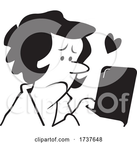 Woman Reading or Sending a Compassionate Text Message by Johnny Sajem