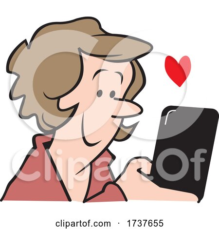 Woman Reading or Sending a Loving Text Message by Johnny Sajem