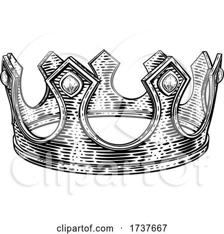 King Royal Crown Vintage Retro Style Illustration by AtStockIllustration
