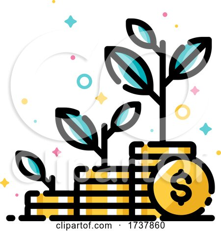 Financial Investments or Money Savings Concept with Three Stacks of Coins and Plants Growing Up by elena