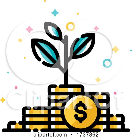 Income Increase and Make More Money Concept with Plant Growing out of Gold Coins by elena