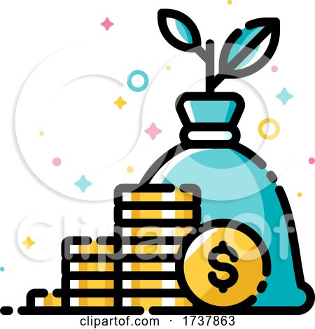 Income and Revenue Increase Return on Investment and Mutual Fund Raising Concept with Plant Growing out of Money Bag by elena