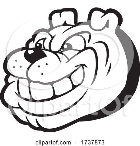 Bulldog Sports Team School Mascot Black and White by Johnny Sajem