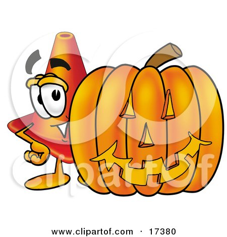 Clipart Picture of a Traffic Cone Mascot Cartoon Character With a Carved Halloween Pumpkin  by Toons4Biz