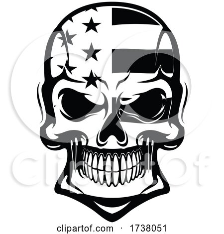 Black and White Stars and Stripes Skull by Vector Tradition SM