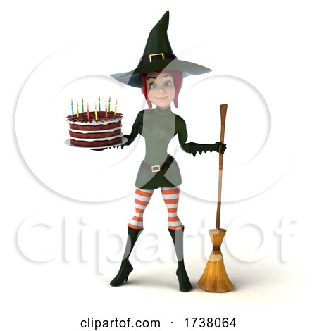 3d Sexy Green Witch, on a White Background by Julos