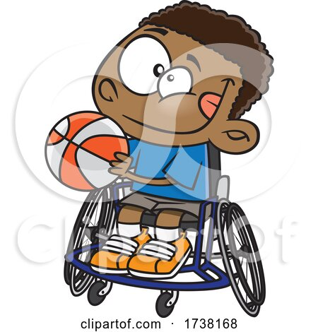 Cartoon Boy Playing Basketball in a Wheelchair by toonaday