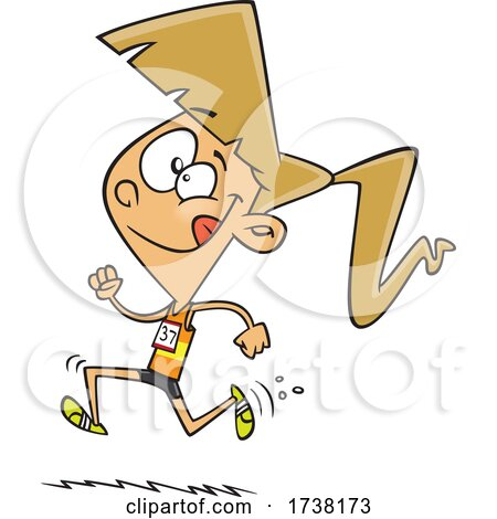 Cartoon Track and Field Girl Running by toonaday