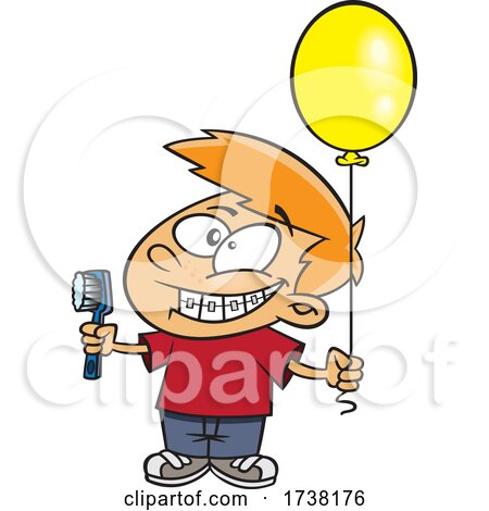 Cartoon Boy Grinning and Visiting with a Toothbrush and Balloon by toonaday