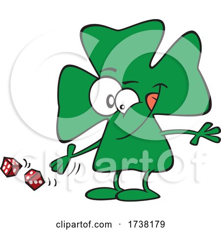Cartoon Lucky Clover Character Rolling Dice by toonaday