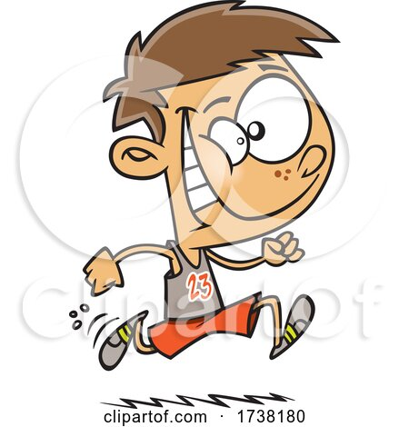 Cartoon Track and Field Boy Running by toonaday