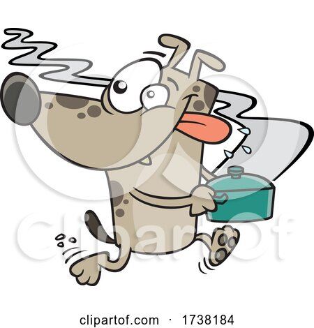 Cartoon Dog Running Away with a Pot of Food by toonaday
