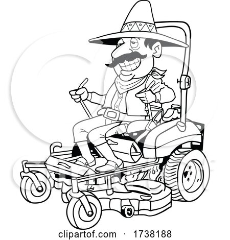 Cartoon Black and White Mexican Operating a Mower by LaffToon