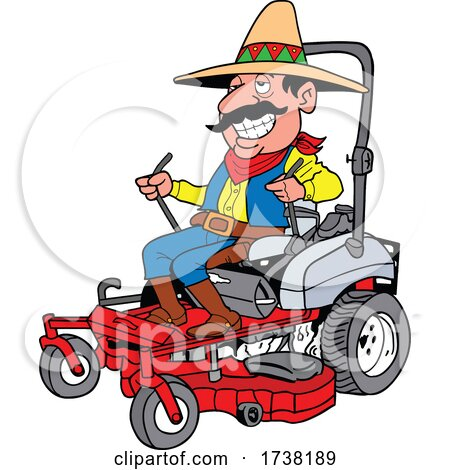 Cartoon Mexican Operating a Mower by LaffToon