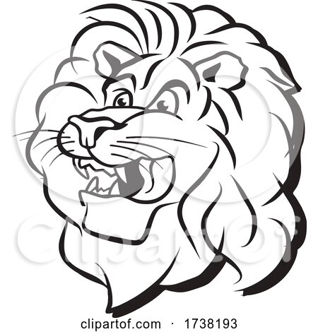 Black and White Lion Mascot Head by Johnny Sajem