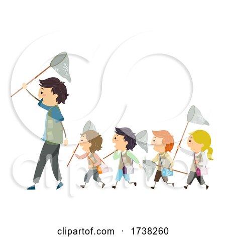 Stickman Kids Man Follow Net Illustration by BNP Design Studio