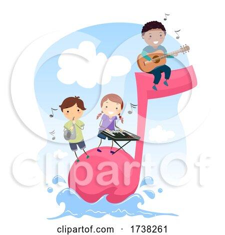 Stickman Kids Music Note Instruments Illustration by BNP Design Studio