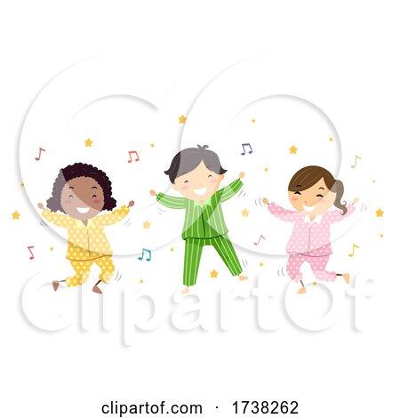 Stickman Kids Pajama Dancing Illustration by BNP Design Studio