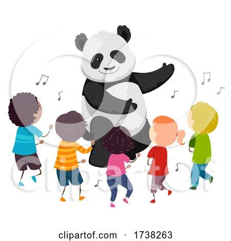 Stickman Kids Panda Mascot Dance Illustration by BNP Design Studio