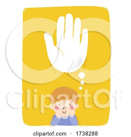Kid Boy Think Helping Hand Cloud Illustration by BNP Design Studio